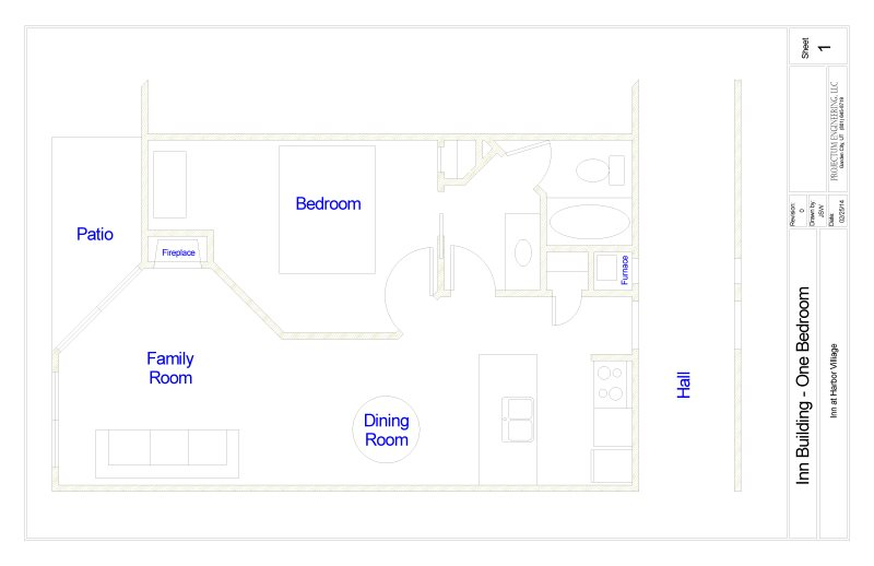 Floor Plan for Inn Buliding #113 Newly Remodeled and Free WiFi